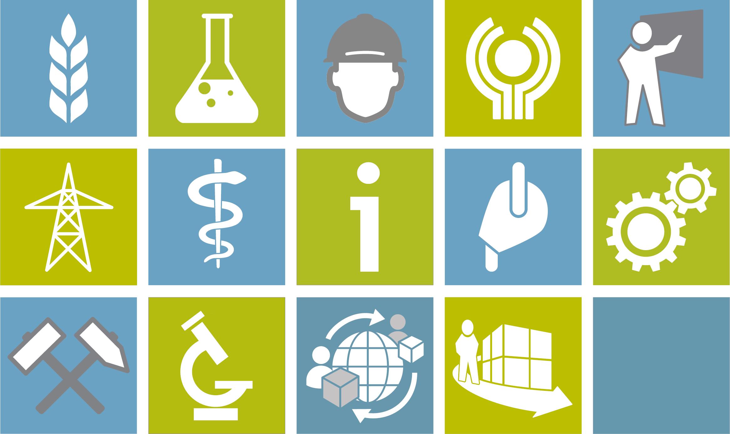Pictogramas das 14 seções internacionais de prevenção