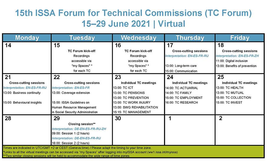 Calendário - 15º Fórum ISSA para Comissões Técnicas