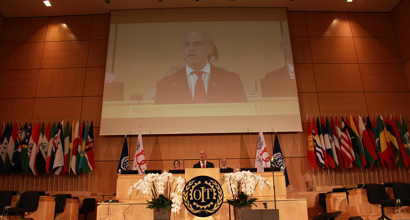 ISSA Secretary General Marcelo Caetano addresses the ILC
