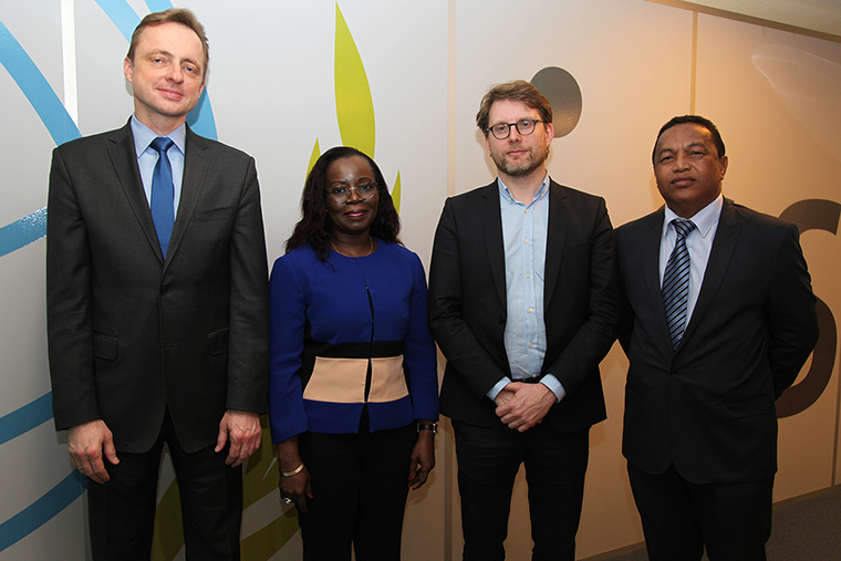 Members of the ISSA Control Commission meet in Geneva, February 2017. From left: Mr Pawel Jaroszek, Poland, Titular Auditor; Ms Patricia Koizan, Côte d'Ivoire, Titular Auditor; Mr Jean-Marc Vandenbergh, Belgium, Titular Auditor and Chairperson of the Control Commission; Mr Raoul Romain Arizaka Rabekoto, Madagascar, Deputy Auditor.