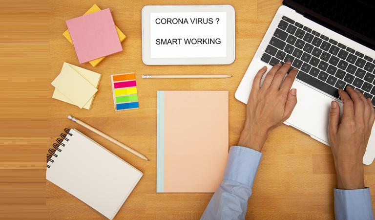 Corona virus, Covid-19 and smart working stock photo