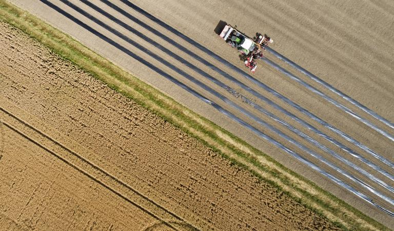 Agricultural fields and machinery - aerial view