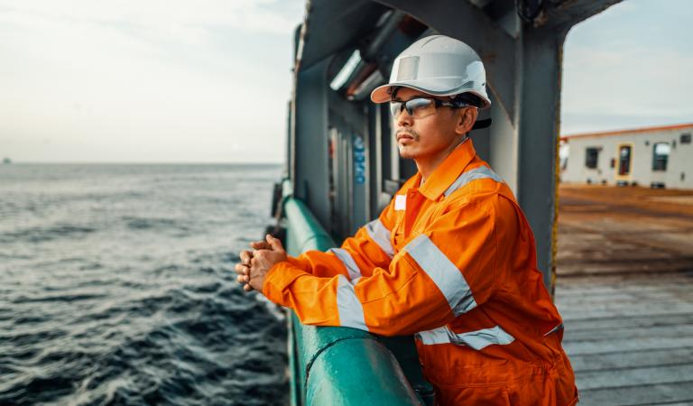 Filipino deck Officer on deck of ship